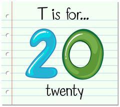 Flashcard letter T is for twenty - stock illustration