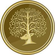 Deer Head Tree Antler Gold Coin Retro Stock Illustration