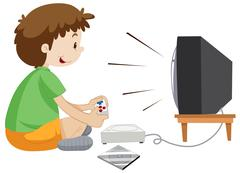 Boy playing vdo game alone - stock illustration