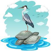 Scene with crane standing on rocks - stock illustration