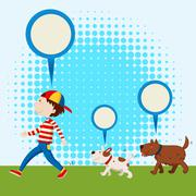 Two dogs following the man Stock Illustration