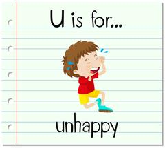 Flashcard letter U is for unhappy - stock illustration