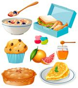 Different kind of food and dessert - stock illustration