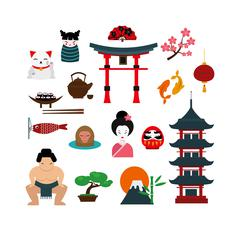 Japanese traditional culture lanterns and objects vector illustration Stock Illustration