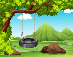 Scene with swing on the tree Stock Illustration