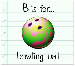Flashcard letter B is for bowling ball - stock illustration