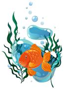 Goldfish swimming under the water - stock illustration