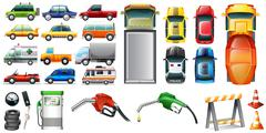 Different kind of automotives and petrol - stock illustration
