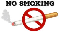 No smoking sign with text and picture - stock illustration