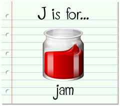Flashcard letter J is for jam - stock illustration
