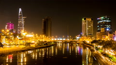 Static view of the bridge in Ho Chi Minh City at night Stock Footage