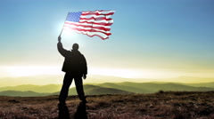 Stock Video Footage of Successful silhouette man winner waving USA United States of America flag on