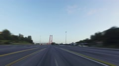 Blurred Driving on a 25 de Abril Bridge in Lisbon Stock Footage