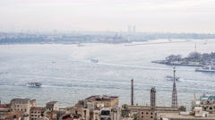Very busy traffic of ships in the Strait of Bosporus  Stock Footage