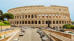 Time lapse with pan effect over the Colosseum in Rome, Italy - stock footage