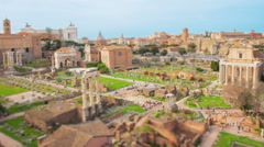 Tilt shift time lapse over the ruins of the Roman Forum in Rome - stock footage