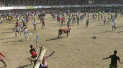 Enraged bull surrounded by crowds of people Stock Footage