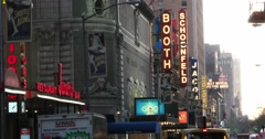 Row of Broadway Theaters in Manhattan New York 4k Stock Video Stock Footage