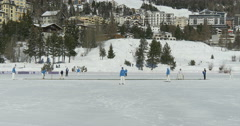 St Moritz cricket on ice Stock Footage