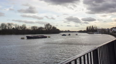 Time lapse of the Thames riverside at sunset in Chiswick riverside, London, Uk Stock Footage