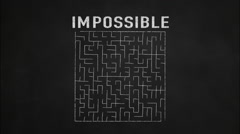 Impossible to possible challenge vision mission strategy chalk blackboard maze Stock Footage