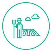 Farmer with pitchfork line icon - stock illustration