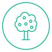 Fruit tree line icon - stock illustration