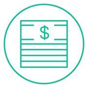 Stack of dollar bills line icon - stock illustration