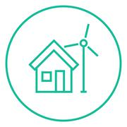House with windmill line icon - stock illustration