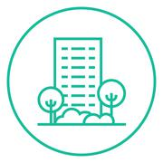 Residential building with trees line icon Piirros