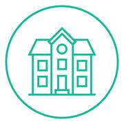 Stock Illustration of Two storey detached house line icon
