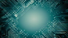 PCB Printed Circuit Board tunnel animated. Technology. Blue cyan. Loopable. - stock footage