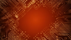 PCB Printed Circuit Board tunnel animated. Technology. Red. Loopable. - stock footage