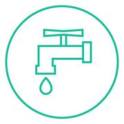 Faucet with water drop line icon Stock Illustration