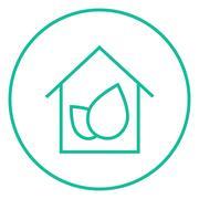 Eco-friendly house line icon - stock illustration