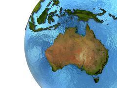 Australian continent on Earth - stock illustration