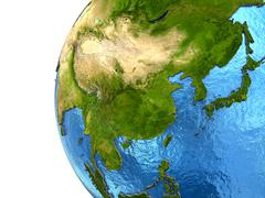 Asian continent on Earth Stock Illustration