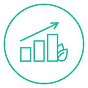 Bar graph with leaf line icon Stock Illustration