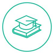 Stock Illustration of Graduation cap laying on book line icon
