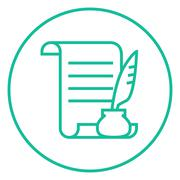 Paper scroll with feather pen line icon Stock Illustration