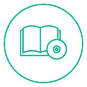 Audiobook and cd disc line icon - stock illustration