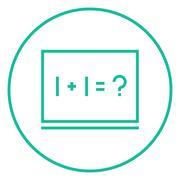 Maths example written on blackboard line icon - stock illustration