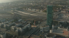 Beautiful aerial drone shot of Zurich Prime Tower Stock Footage