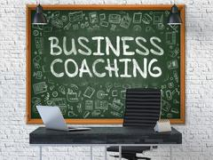 Business Coaching Concept. Doodle Icons on Chalkboard - stock illustration