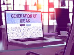 Laptop Screen with Generation of Ideas Concept Stock Illustration