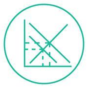 Mathematical graph line icon - stock illustration