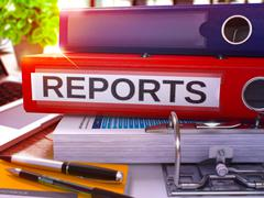 Reports on Red Office Folder. Toned Image - stock illustration