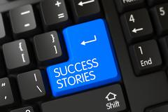 Success Stories CloseUp of Keyboard - stock illustration