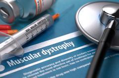 Muscular dystrophy. Medical Concept on Blue Background - stock illustration