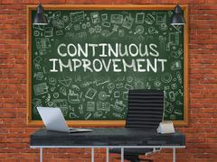 Chalkboard on the Office Wall with Continuous Improvement Concep Stock Illustration